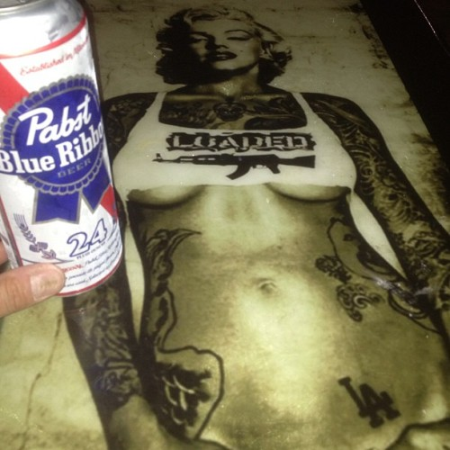 Just tattoo'd Marilyn, me and Pbr. It will do. #loaded #hollywood #drunkyet #la #fun  (at Loaded Rock Bar)