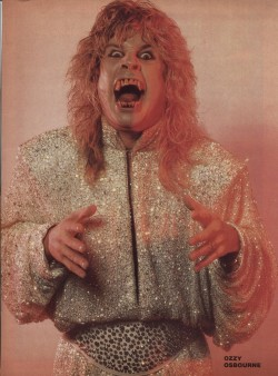 "lucipussycat:  Ozzy in the 80's…Gosh, his ""metalhair"" phase was…No words…(not mean it was a good thing, this outfit…Blerg!)."
