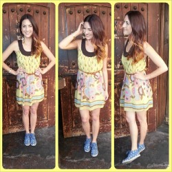 My #ootd what do you think? #EAVintage #forever21 #yellow #flower #flowerprint #dress #vintagebelt #brown #braided #polkadot #TOMS #hipster #hipsterfashion #fashion #igfashion #ombrehair by @stephiegracebenoit #spring #summer #smile #happyface hanging out at #CantinaMayahuel #tacotuesday