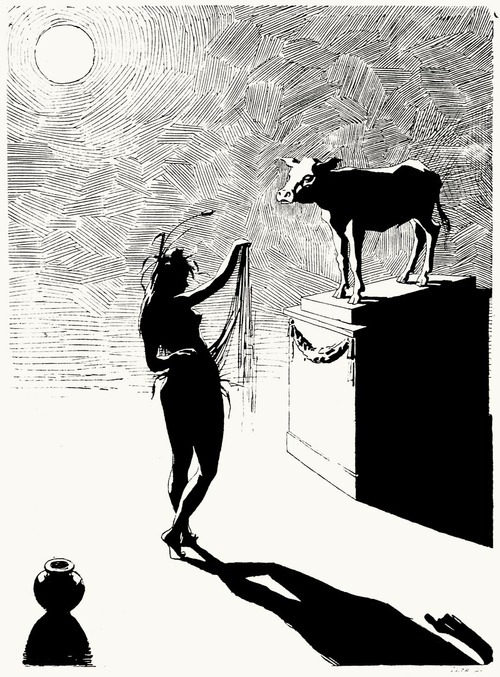 The fairy descends and does the belly dance before the Golden Calf.  Henry Gerbault, from Les éreintés de la vie (Life's shattered ones), by Félicien Champsaur, Paris, 1888.  (Source: archive.org)