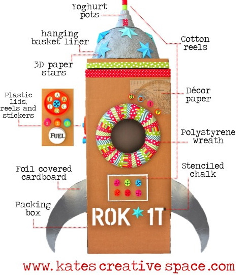 DIY Kids' Cardboard Rocket Tutorial from Kate's Creative Space here. There is a captain's door that opens in back. First seen at Studio DIY here. For more forts and structures go here: unicornhatparty.com/tagged/fort