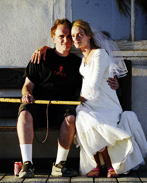 Quentin Tarantino & Uma Thurman on the set of Kill Bill: Vol 2., 2003.