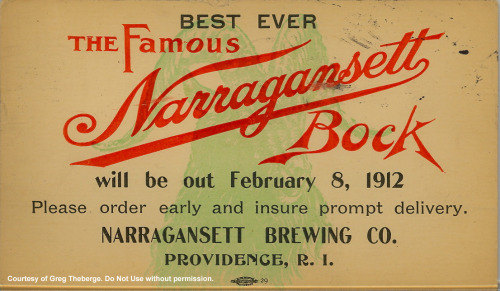 Original ad announcing the first ever release of 'Gansett Bock Beer. 101 years and 1 week ago to be exact.