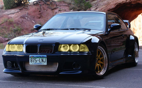 Yellow Lamin-x headlight film on a wide body E36. Find the kit for your E36 here: http://www.lamin-x.com/BMW-E36-1992-to-1999-s/832.htm