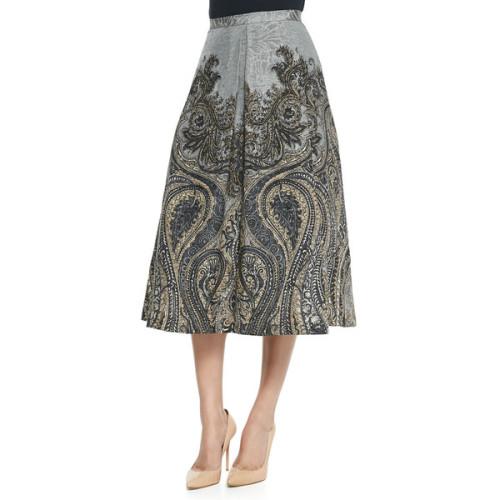 polyvore fashion clothing skirts silk skirt paisley skirt flared skirt print skirt pattern skirt
