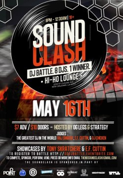 TONIGHT, its @theSoundClash DJ Competition at Hi Ho Lounge !! 8 DJ's from NOLA will display their talent at DJ Raj Smoove, EF Cuttin & DJ Chicken all judge who they think has the hottest mix of the night! For more information and to register click here!  #NOLAHollyWoodApproved @NGNola