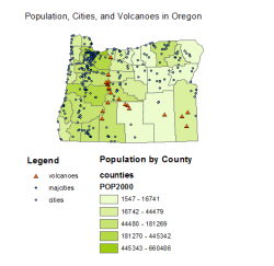 Volcanoes, Cities, and Population in Oregon I made this not so beautiful map in my summer GIS class. I was ahead of my class in understanding ArcGIS basics, so I threw together these datasets.  Interestingly, population and cities are focused around the port city of Portland and you can see how the geographic line of volcanoes and accompanying mountains keeps higher population density on the left side of the state.