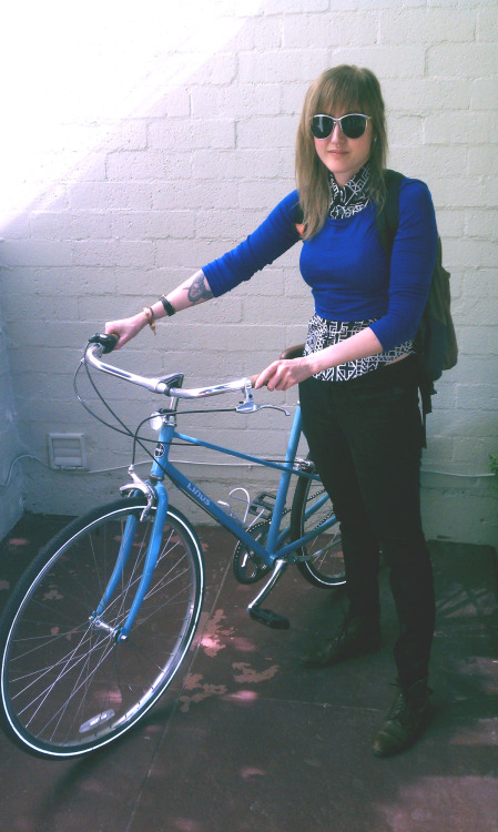 Take a picture of yourself with your bike for your commute to or from work and Tweet it at @libwardrobe (or submit the photo here) from now until Friday, May 10th to be included in a sweet collage of librarians-who-bike-to-work! You have to be in the picture, showing what you're wearing (no pictures of only bicycles). Bike selfies are harder than regular selfies, so you might need to enlist a colleague!