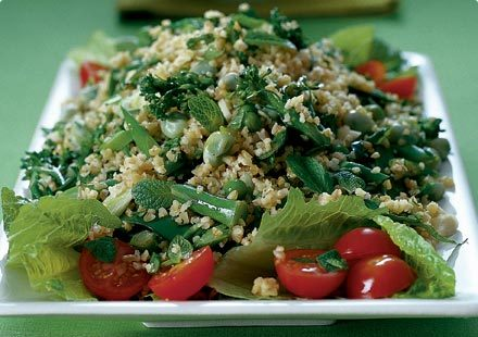 Tabbouleh salad with a Vinho Verde or a Dry Riesling (or a light Pinot Gris, even) sounds good right about now.