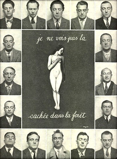 "myarmisnotalilactree:  La Révolution surréaliste N. 12, 1929 - ""The Hidden Woman"" and the Surrealists:  (top row) Maxime Alexandre, Louis Aragon, André Breton, Luis Bunuel, Jean Caupenne; (second row) Salvador Dalì and Paul Éluard; (third row) Max Ernst and Marcel Fourrier; (forth row) Camille Goemans and René Magritte; (bottom row) Paul Nougé, Georges Sadoul, Yves Tanguy, André Thirion, Albert Valentin"