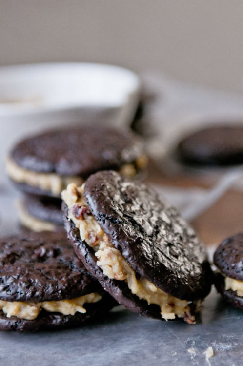 German Chocolate Sandwich Cookies by Hungry Rabbit