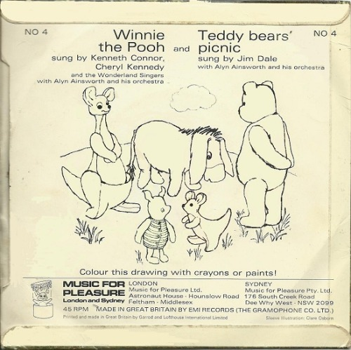 "c86:  Winnie the Pooh and Teddy Bears' Picnic, 1966 I'm currently experiencing a 7"" vinyl flashback from this record, especially the cover photograph. As a child, the sad bear slumped against the tree always troubled me via 45cat  Oh my goodness, this takes me right back. My Dad would play this single at every party my sister would have (I never seemed to have parties, bit it wasn't a problem - parties seemed to basically involve lots of screaming girls), and even now he reminds us of this, mainly when he's just met a woman in her late 40s who was one of the little girls screaming at him to ""play it again""…"