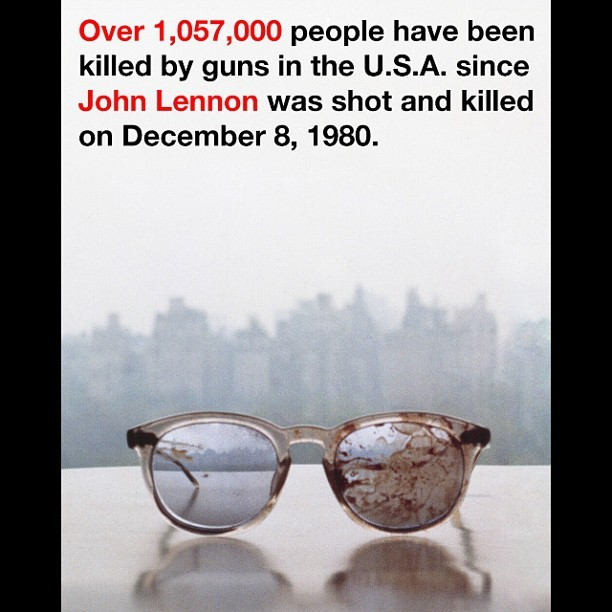 #yoko #ono #lennon #johnlennon #powerful #image #glasses #murder #kill #guns #gun #gunviolence #guncontrol #government #people #graphic #igers #instapic #instamood #poignant