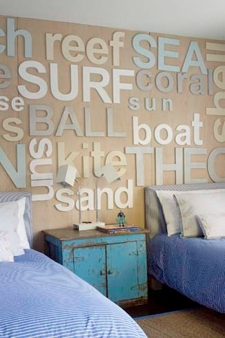 Details We Love! Typography Wall - you could adapt this idea to any theme for any room…pirates or dance for the kids room or creativity and imagination for the playroom!
