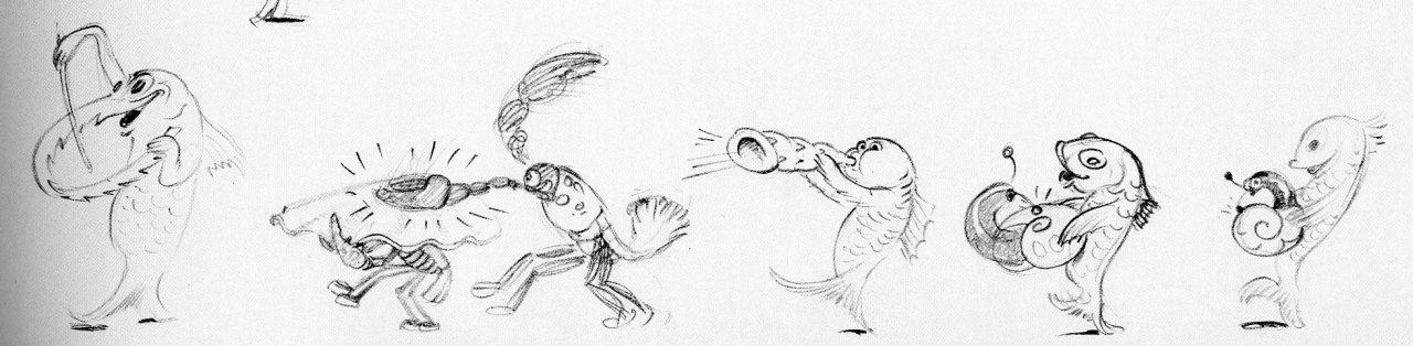 Gag drawings for the Silly Symphonies short King Neptune (1932)by Albert Hurter #Albert Hurter#Disney#walt disney#king neptune#silly symphonies