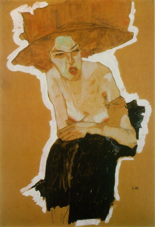 hmmm-m:  Egon Schiele. The Scornful Woman (Gertrude Schiele). 1910.