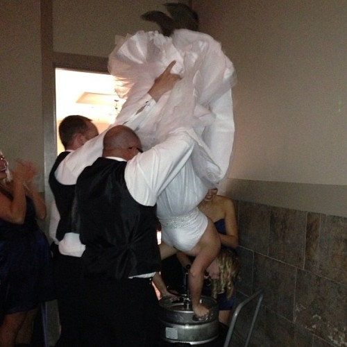 Classiest bride. Ever. #kegstand #bride #wedding