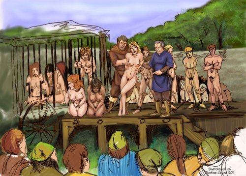 Auction or prisoners-going-to-auction scenes are a pretty logical place for pan sub images.  After all, why not provide something for all your customers?  Still rare, tho.