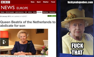 Canada's Head of State reacts to the shocking news from the Netherlands.