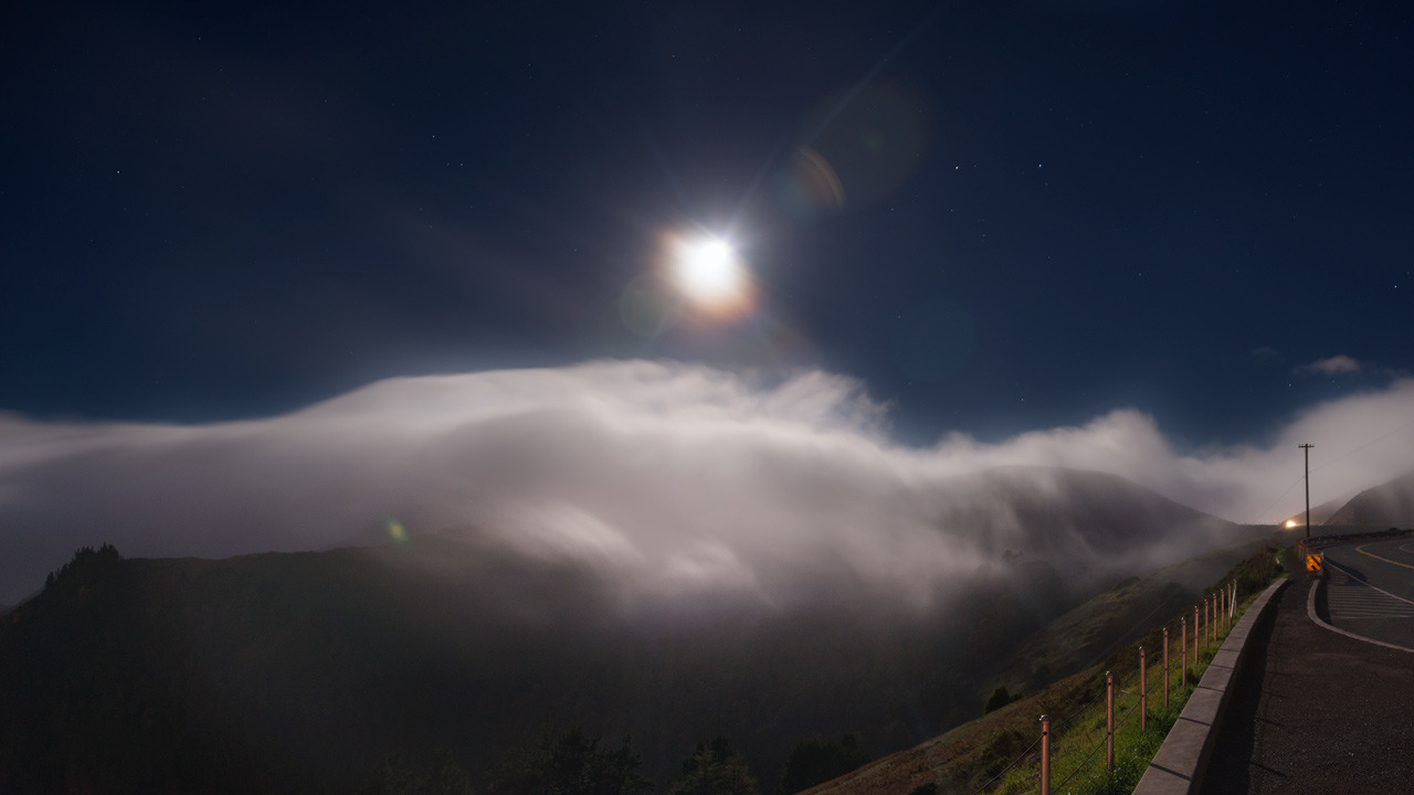 Moonlight Falling  Very late night in the Marin Headlands.  This is my first really long exposure HDR panorama with the D800E, and I'm still absolutely shocked at how well this thing can capture detail in limited light. It is in a completely different league than my old D200. I had to struggle with night shots on that, due to both noise and limited dynamic range. With the D800E, I can make a night shot look like it was taken in the afternoon - I didn't here because thats pointless, but I could.  This one is a 2*5 exposure HDR panorama, processed in Photomatix, using a significant amount of pure RAW data in Photoshop instead of HDR. With that aside, processing was actually quite minimal. I like the way it looks like this - it's unusual to see the moon shine quite like it does here.