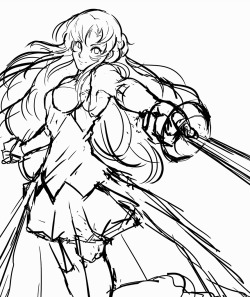 found a niche to sketch something for once! :) girls with swords = a ok