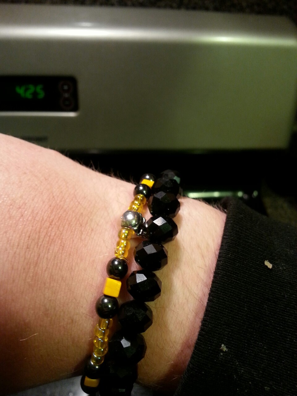 Finally a yellow and black bracelet.