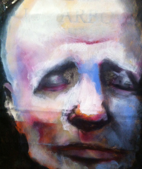 darksilenceinsuburbia:  Georg Wachberg. Head, 2013. Oil on shopping bag.