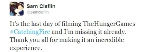 Sam Claflin announces it's the last day of Catching Fire filming!
