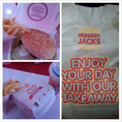 My only meal for today. #hungryjacks #OZdownunder #foodporn #burger #beef #fries #hamburger