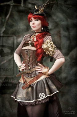 cloggo:  STEAMPUNK I know she has amazingly red hair but her Steampunk Outfit is the thing here. Especially as xSeelenkorsttx made it herself including the leather corset From HERE