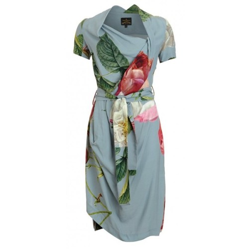 Vivienne Westwood Anglomania Blue and Pink Dress Floral Print Belted Daisy Dress   ❤ liked on Polyvore (see more vivienne westwood anglomanias)