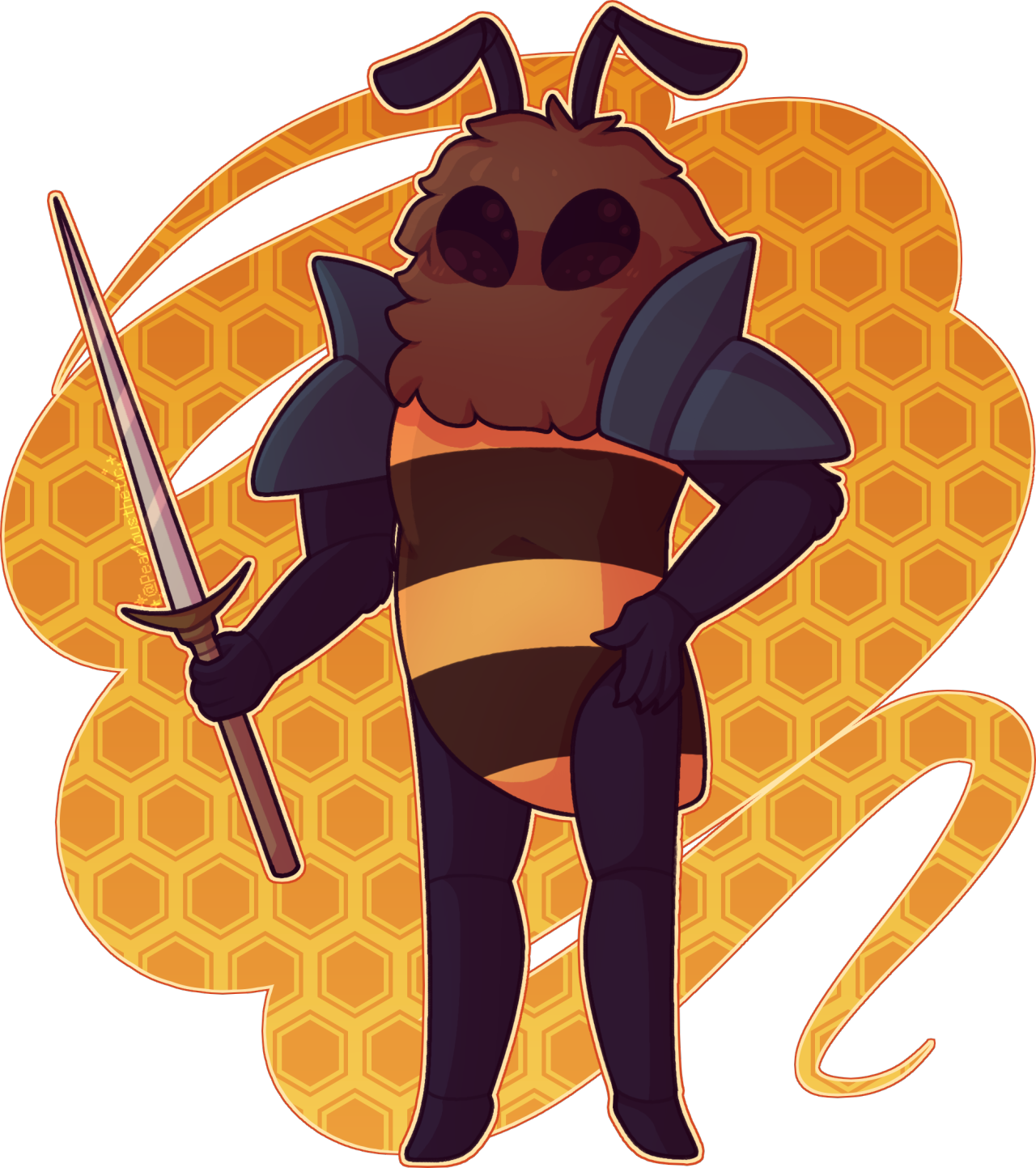 underappreciated bee best friend #hive knight#hollow knight#bee#fanart#hk#the hive#bug#insect#digital art #i just think hes really cute  #ive wanted to learn how to draw him for a while and i think i did good here!  #plus my gf likes him so that may have influenced my choice too