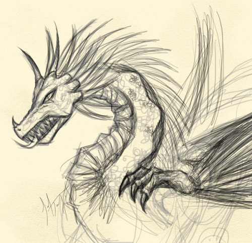 Sol's journal excerpt sketch of a diamond ridgeback dragon. Isn't he talented? Hah~