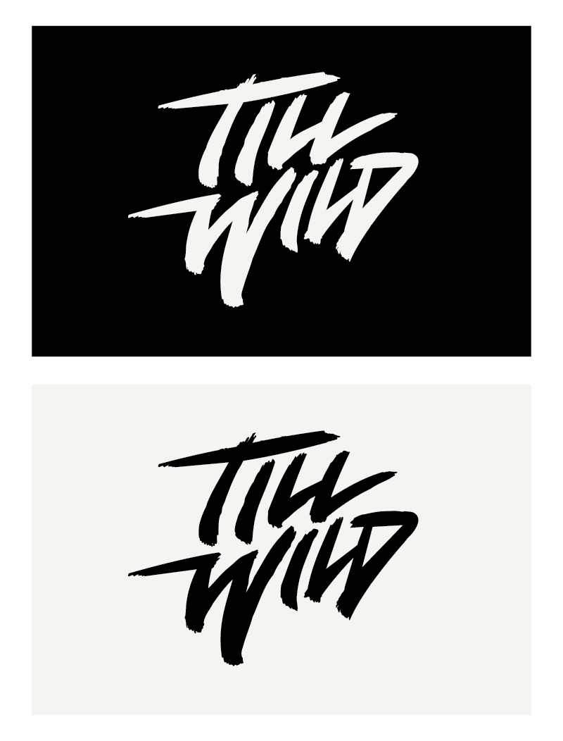 DJ Till Wild logo - Single colour before 3D and photoshop effects in the final artwork. Designed for use as sticker, patch or wherever else a single colour is required.