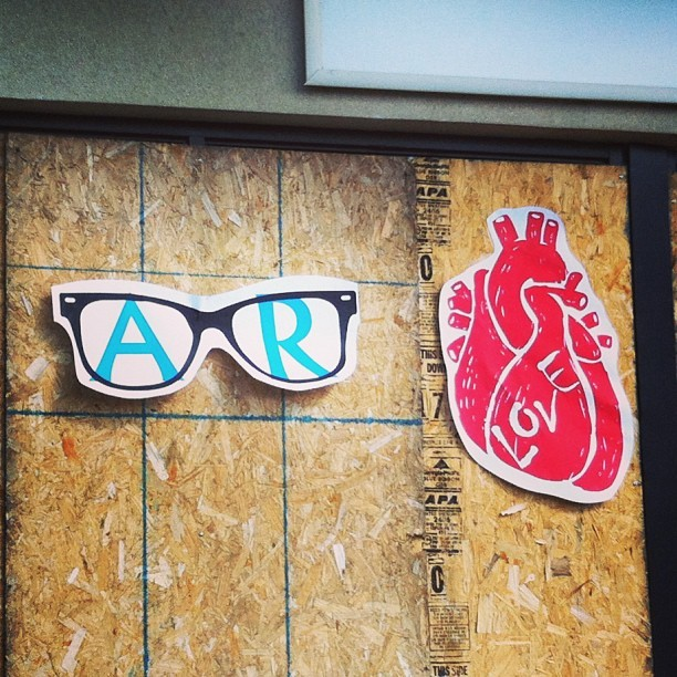 My #fiancé 's handy work #heart #glasses #love #initials #711 @arobb86 #grafitti