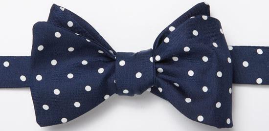Navy silk polka-dot bowtie at J.Press