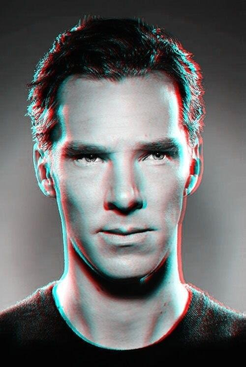 sherlockology:  Brilliant 3D picture of Benedict Cumberbatch sent to us on twitter by @bonniegrrl. Sadly we don't know the original source.NOTE: for the 3D effect to work you need RED & GREEN glasses.