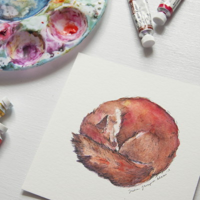 tinyartshop:  Quick little watercolor for today.  I'm fox obsessed, can't you tell?