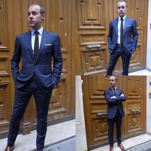 "jean-manuel-moreau:  A ""Happy customer""!!! V BARBERIS 4 seasons navy blue fabric by Jean-Manuel MOREAU.http://jeanmanuelmoreau.com/ http://jean-manuel-moreau.tumblr.com/"