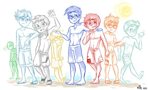 And now it's the boys' turn to go to the beach.…I am so not sorry for putting 4chan in that speedo. From left to right: 4chan(in the background lol), Wikipedia, Steam, Bing, Mr.Google, YouTube, Blogger, and Instagram. (hhuhuhu -//w//-)