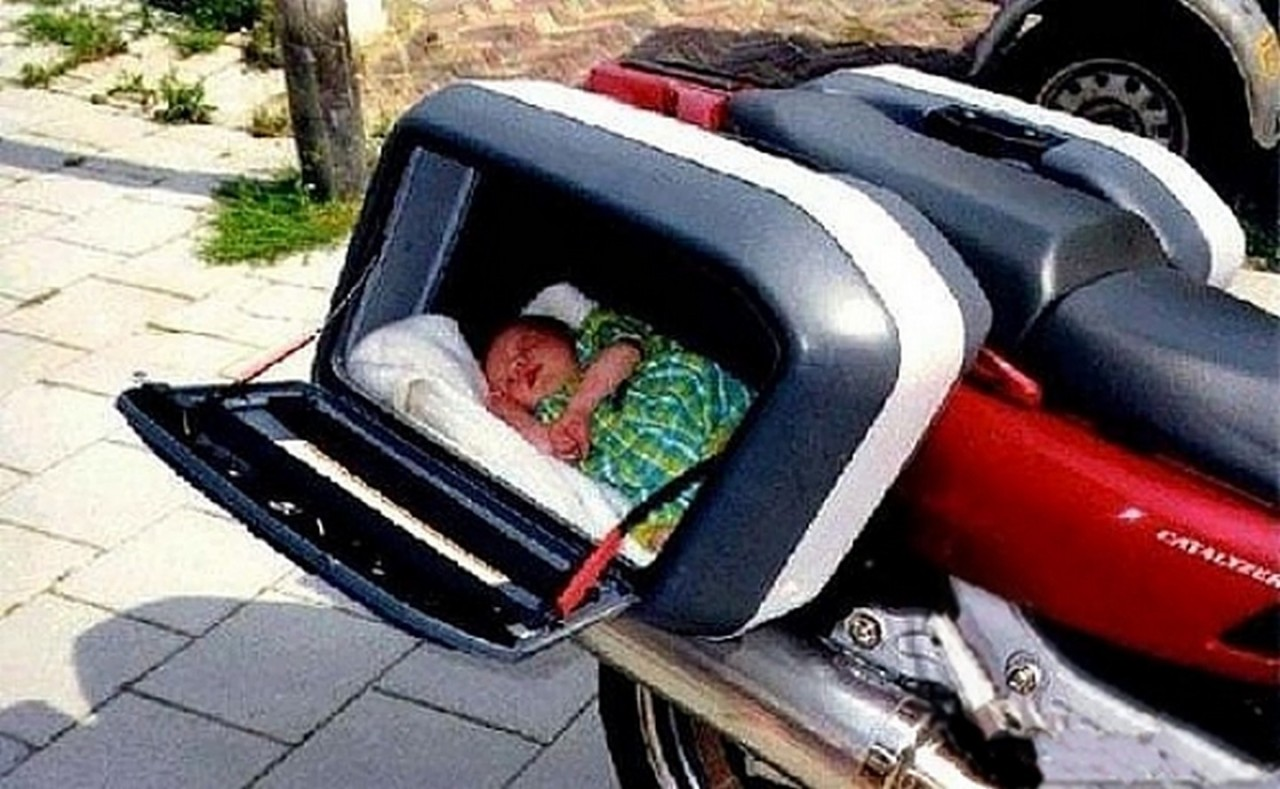 sickhumor:  Add a little extra padding in case the bike tips over, and you're good to go.  Carrying some extra baggage