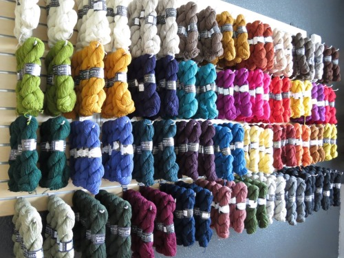 We've received the yarn, Harrisville Shetland, by Harrisville Designs. There are so many beautiful colors. I'm currently making a colorwork shawl out of the yarn :)