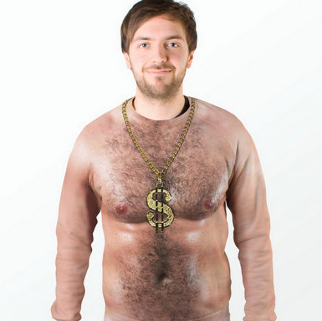 "Hate People With Vaginas? This Sweater Will Keep Them Away For Good. This is the ""70's Hair Chest Sweater"" by Firebox. It's $60.49, instantly turns your torso into that of an oiled-up, hairy-chested man, and seems like a pretty rad form of birth control. It also reminds me of Carl from Aqua Teen Hunger Force."