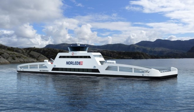World's First Electric Car Ferry Recharges in 10 Minutes | Wired.com The world's first battery electric car ferry is under development in Norway. It's capable of carrying 120 cars and 360 passengers, and it can fully recharge in just 10 minutes.  Called ZeroCat, the 260-foot ferry will enter passenger service in 2015 on a route between Lavik and Oppedal. The ferry's electric powertrain was designed by Norwegian shipyard Fjellstrand with battery technology from Siemens, and it will be run by ferry operator Norled.  Instead of a 2,000-hp diesel engine — which powers the current ferry and sucks up over 264,000 gallons of fuel each year — ZeroCat features an 800 kW battery that weighs 11 tons and drives two screws. Though the battery is quite heavy, the ship only weighs half as much as a conventional catamaran ferry, thanks to twin hulls made of aluminum. Those hulls are a slim design, which further increases efficiency, with Siemens estimating the ferry will need only 400 kW to cruise at 10 knots.