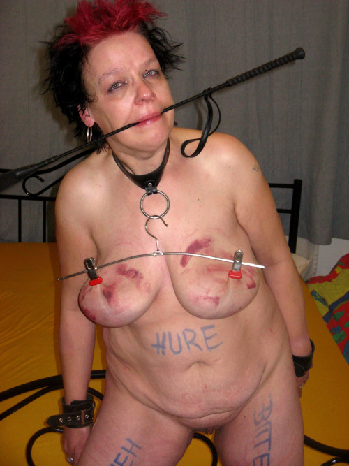 image Mature slave slut heidy with heavy genital n nip piercings
