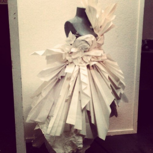 #college #paper #dress #fashion #couture #mannequin…. the dress we made…