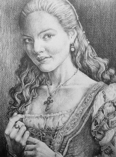 Beautiful drawing of Holliday Grainger as Lucrezia Borgia by AlexndraMirica