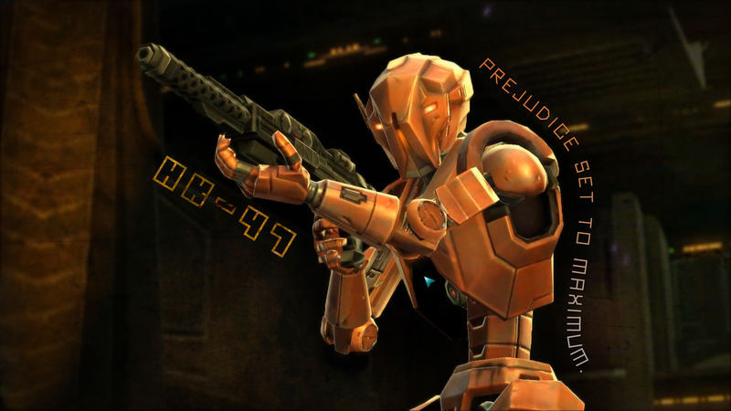 "ascendantbulge:  HK-47: Statement: HK-47 is ready to serve, master. Revan: You don't need to call me master, you know. HK-47: Query: Don't I? I was under the assumption that organic meatbags such as yourself enjoyed such forms of address. Revan: ""Organic meatbags?"" HK-47: Retraction: Did I say that out loud? I apologize, master. While you are a meatbag, I suppose I should not call you as such. Revan: You just called me a meatbag again! HK-47: Explanation: It's just that… you have all these squisy parts, master. And all that water! How the constant sloshing doesn't drive you mad, I have no idea… Revan: Neither do I, come to think of it… HK-47: Statement: Now do you understand the travails of my existence, master? Surely it does not compare to your existence, but still… Revan: I survive. Somehow. HK-47: Commentary: As do I. It is our lot in life, I suppose, master. Shall we find something to kill to cheer ourselves up?"
