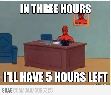 Spiderman wants to go home! It's Friday!