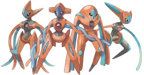 e-lodicolo:  Deoxys wi-fi distribution is live and is from 5/7 to 5/31 It's level 100 and knows Nasty Plot, Recover, Psycho Boost, and Dark Pulse and is holding a Life Orb It's soft resettable if you wanna go for a particular nature It's distributed as the Normal form, to change its forms you can just visit the Nacrene City museum